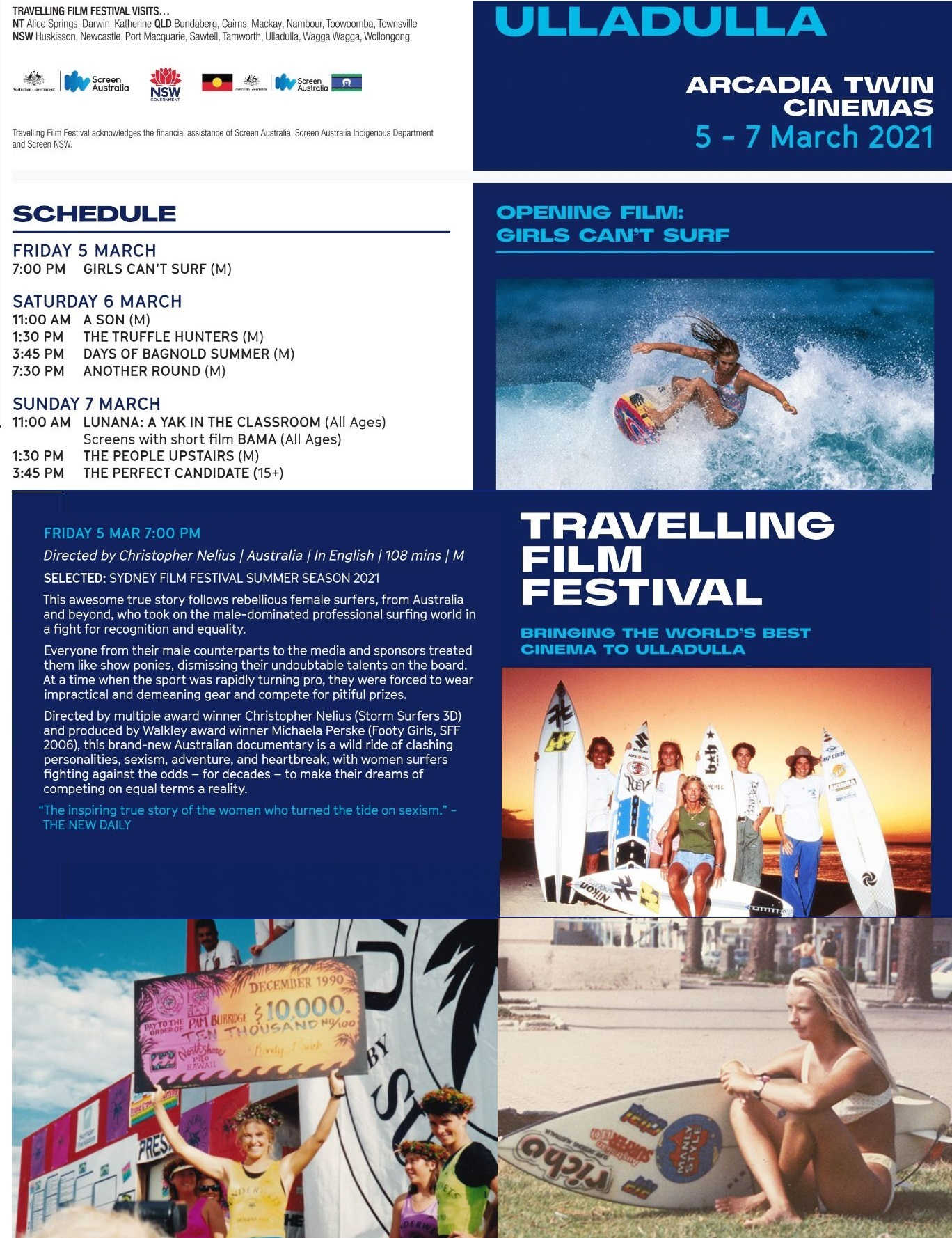 Travelling Film Festival Ulladulla,Travelling Film Festival,Ulladulla,Girls can't surf,Pam Burridge,Arcadia,Mollymook Beach Waterfront