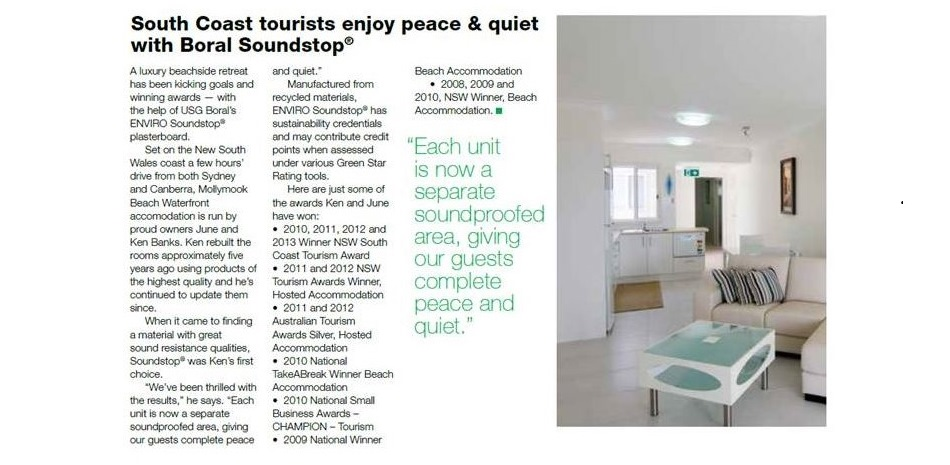Enviro Soundstop plaster board,Enviro Soundstop,Boral,Mollymook Beach Waterfront,Bed & Breakfast,accommodation